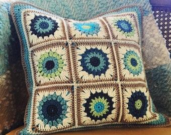 Crochet pillow cover cotton bamboo aqua gray and green