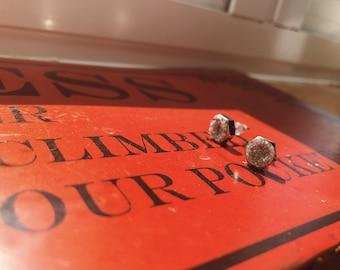 Silver Geode Hex Nut Earrings