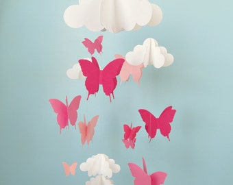 Butterfly Mobile, Baby Mobile, Butterflies and Cloud Mobile, Baby Mobile, 3D Mobile, Nursery Mobile, You choose colors!