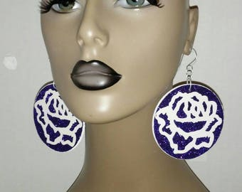 Beautiful Purple and White Rose Wooden and Paper Earrings, Large Earrings, Round Earrings, Womens Earrings, Big Earrings, Glitter Earrings