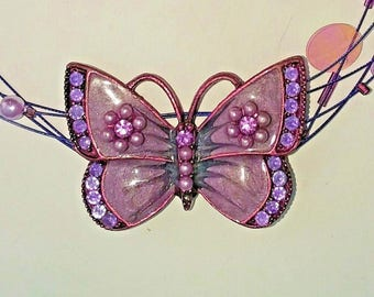 Vintage Signed VCLM PURPLE Enamel Butterfly Necklace Choker Rhinestones