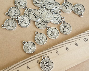 26 pcs 12mm Antique Silver Initial charms , Antique Silver Initial Pendant ABZ010b