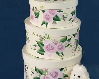 Hand-Painted Floral Hat Box Set of 3 Stacking Hat Boxes - Decorative Hat Box Pink Roses, Blush Flowers Cute Bedroom Storage Bedside Storage