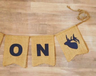 Elk Deer Banner, Custom, Personalized, Deer Head, Woodland Nursery, Rustic Baby Shower Decor
