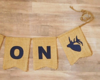 Bannière de cerf wapiti, prendre une douche sur mesure, personnalisé, une tête de cerf, bois chambre d'enfant, bébé rustique Decor