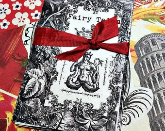 Mini Zine Fairy Tales Antique illustrations Mermaids Black & White Engravings pen + ink Art zine Miniature Art Coloring Pages