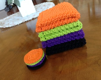 Knitted Halloween Washcloth and Scrubbie Set