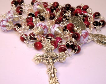 Catholic rosary, unbreakable, wire wrapped, mother and , Abundant Grace Rosaries, Indylin, gemstone rosary,