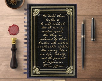 Thomas Jefferson Quote, Life, Liberty, Writing Journal, Gift for Him, Graduation Gift, Spiral Notebook, Lined Notebook, Journal