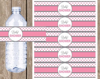 Pink and gray baby shower water bottle labels , polka dot water bottle label, pink and grey, pink and gray baby shower, pg1 INSTANT DOWNLOAD