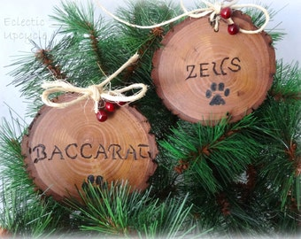 Personalized Paw Print Christmas Ornaments - Made from Recycled Wood