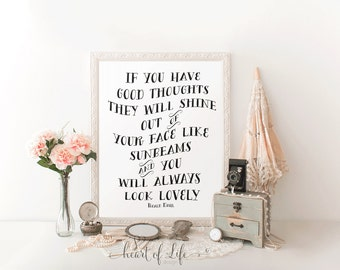 Roald Dahl Quote Printable, Sunbeams Quote Print, 5x7 8x10 11x14, Black and White, Inspirational Quote, Have Good Thoughts, HEART OF LIFE