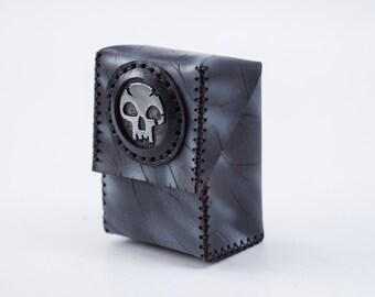 Magic Deck Holder - EXPRESS SHIPPING - Custom Leather Deck Box - Black MTG Deck - Trading Cards - Black Mana