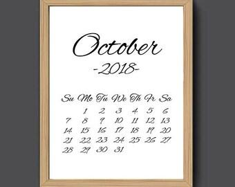 monthly calendar october 2018