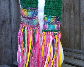 Emerald City Scarf, Knitted Rainbow Scarf, Green Winter Scarf