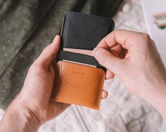 "Leather Wallet for Samsung Galaxy Alpha, leather, wool felt, black, brown, ""Kangaroo"", by band&roll"