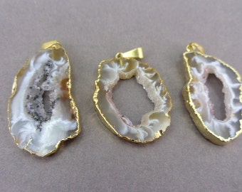 Agate Druzy Slice - Electroplated Gold Edged Agate Slice Drusy Pendant - Drussy crystal (S121B2)