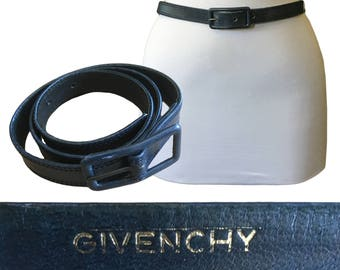 "Vintage GIVENCHY Navy Blue Leather Belt — 27-29"" W"