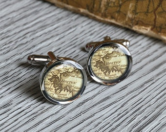 1793 vintage Boston map cufflinks antique anniversary gift map cuff links christmas birthday C0710P