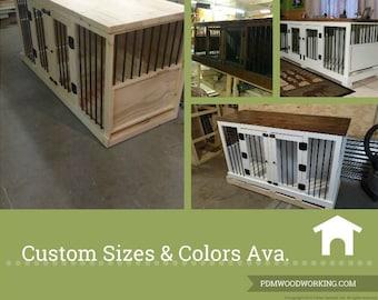 Custom Dog Kennel / Dog Furniture / Double Dog Kennel / Single Dog Kennel / Rustic Furniture / Kennel Bench / Dog House / Dog Crate