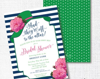 Big Hat Bridal Shower Invitation, Printable,  They're Off To The Altar, Brunch, Wedding Shower, Luncheon, Kentucky Derby, Horse Race, Navy
