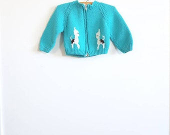 Vintage Teal and White Puppy Sweater