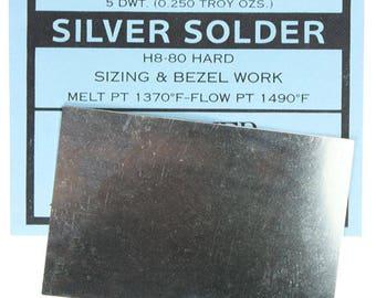 Silver Sheet Solder Hard 5dwt (1/4oz)  (SSSH)