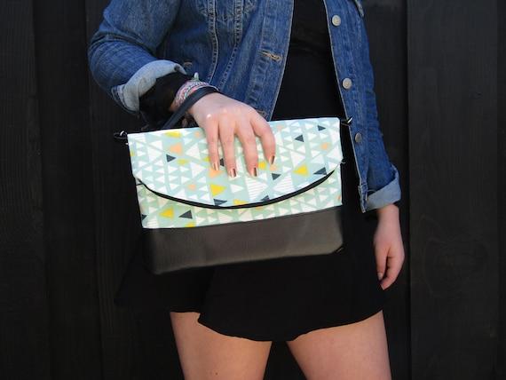 Geometric Handmade Clutch cross body purse wristlet handbag shoulder bag evening bag