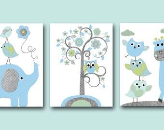 Elephant Nursery Giraffe Nursery Baby Boy Nursery Kids Wall Art Baby Nursery Decor Baby Room Decor Kids Art Boy Print set of 3 Owl Blue
