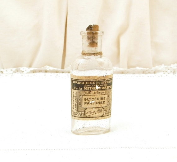 Antique French Glass Bottle With Original Paper Label for Perfumed Glycerin / Glycérine Parfumée from Paris, Country Cottage Decor France