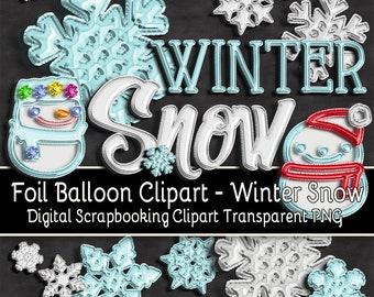 WINTER SNOW -- Foil Balloon Digital Clipart