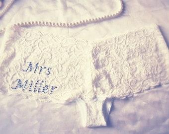 Personalised Wedding Ivory Lace Knickers with Blue Diamante. Bridal Underwear Wedding Gift. Honeymoon Lingerie