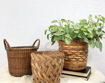 Vintage Woven Rattan Planter Baskets - Mismatched Set of 3 / Woven Wicker Baskets / Basket Collection