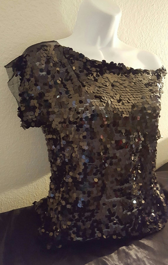 Off Black Bridal Club Sheer Evening Tunic Costume The Party Sequin Sexy Top Shoulder EHzdq6En