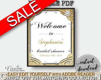 Glittering Gold Bridal Shower Bridal Shower Welcome Sign Editable in Gold And Yellow, editable pdf, gorgeous bridal, party stuff - JTD7P