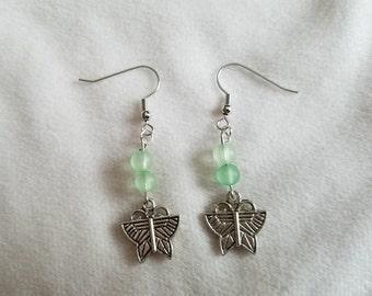 Green Butterfly Earrings
