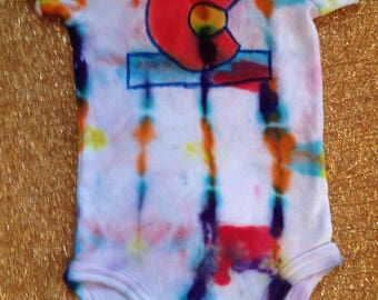 Tie Dye Bodysuit With Colorado Flag,0-3 months, short sleeves