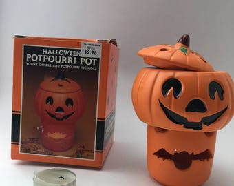Vintage 1990 Halloween Pumpkin Jack o Lantern Potpourri Pot, In Original Box, Three Piece Warmer, Jack O Lantern with Lid, Votive Holder Bat