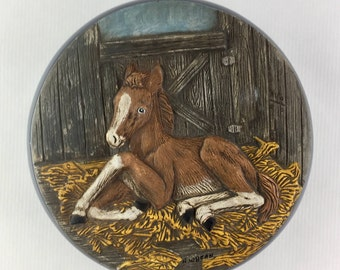 Vintage 1980's Decorative Ceramic Bowl with Lid, Foal, Horse