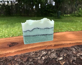 Eucalyptus and Spearmint Cold Process Bar Soap, With Activated Charcoal Veins, Palm Oil Free, Vegan