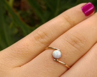 opal gold ring, opal ring, white opal ring, delicate opal ring, white opal, thin stacking ring, party gold ring, gold filled ring