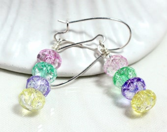Ice Flake Quartz Earrings, Pastel Colors