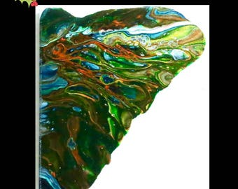 Abstract Acrylic Pour painting #14 8 x 8-Butterfly Wing One-Aqua-White-Green-Orange-Original-Home Decor-Wedding Gift-Affordable-