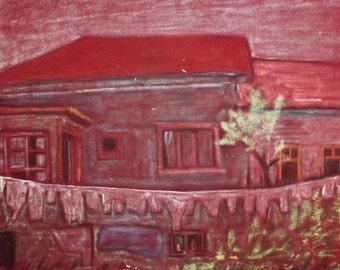 Vintage house landscape pastel painting