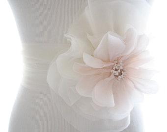 Bridal Sash - Tulle Bridal Sash - Silk Flower Bridal Sash - Wedding Accessory - Blush Wedding Sash - Blush Bridal Sash - Tulle Sash