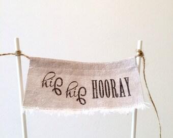 Cake Topper - Linen Banner Style - hip hip HOORAY