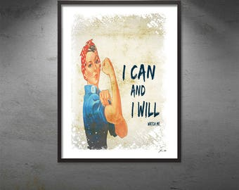 I Can and I Will Typographic Wall Art Motivational Typography Digital Download Modern Art Instant Download Printable Inspirational Print