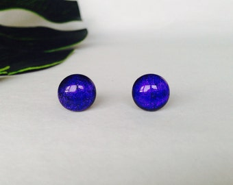 Dark Purple dichroic glass stud earrings, on sterling silver - Fused dichroic glass
