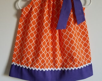 Clemson Dress Pillowcase Dress Orange and Purple Clemson Tigers Game Day Dress College Football Girls Dresses South Carolina Team Dresses