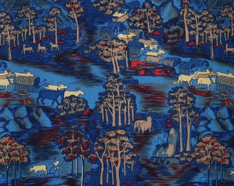 Thai culture-Thai country side-Printed rayon-Blue Color-By yard-Thai 80s-Thai style printing-Clothing-Garment-Handcraft supply-2y80cm